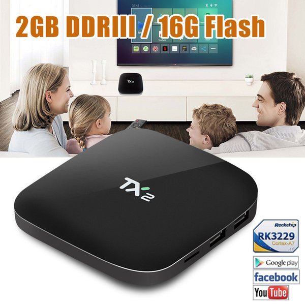 Rockchip RK3229 Android 6.0 TV Boxes TX2 2GB 16GB TVbox usa canada best selling Android-TV-Box Television Media player