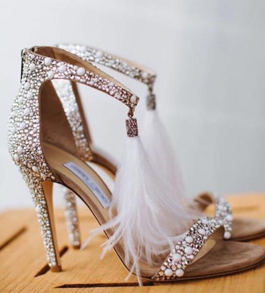 Women High Heel Sandals Leather Rhinestone Feather Thin High Heel Wedding Shoes Bohemian