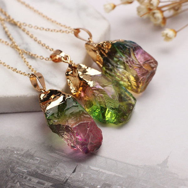 Wholesale 12pcs Long Gem Stone Nature Stone Quartz Charms Druzy Pendant Necklace Elegant Gold Lated Jewelry Gift For Women