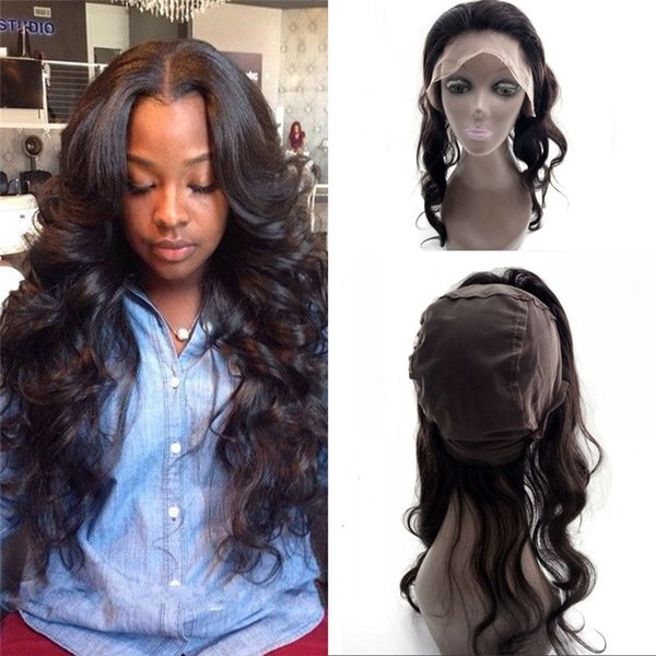 360 Lace Band Frontal with Adjustable Straps Bleached Knots Top Quality Mongolian Human Hair Body Wave 360 Frontal 130% Density FDSHINE