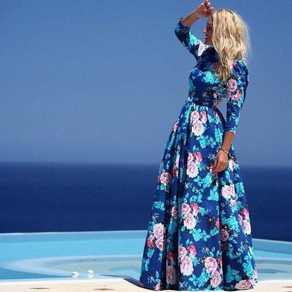 Womens Maxi Dresses Beach Floral Long Cocktail Party Dress Boho Style Long Casual Dress Floral Print Summer Dresses For Women Clothes Dress