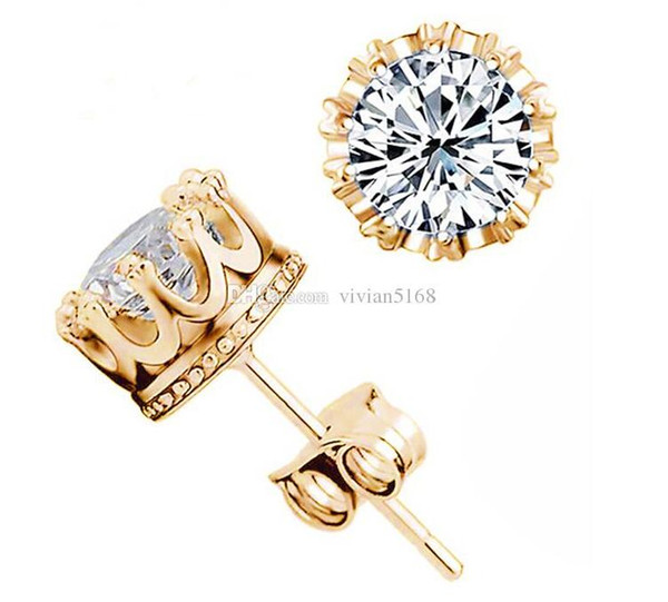 top popular Crystal 925 sterling Silver Diamond Crown Earring Plated Gold Plated Silver Stud Earring with beautiful Wedding Engagement Jewelry gift 2019