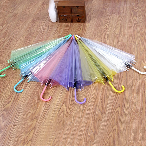 best selling Transparent Clear PVC Umbrella Dance Performance Long Handle Umbrellas Beach Wedding Colorful Umbrella for Men Women Kids wa3234