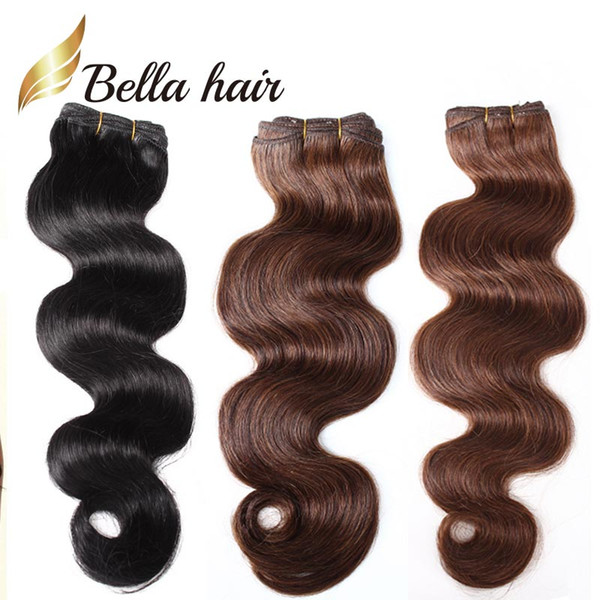 Fashion Hair 14-24inch Brazilian Hair Jet Black Dark Brown 2pcs/lot Human Hair Weft HairExtensions Grade 8A Free Shipping BellaHair