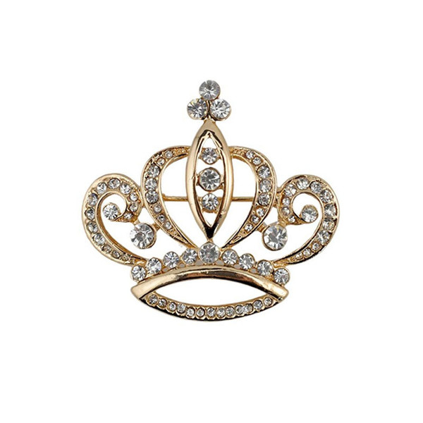 Women's Elegant Gold Tone Crystal Crown Shape Brooch Pins,Jewelry Corsage Lapel Pin