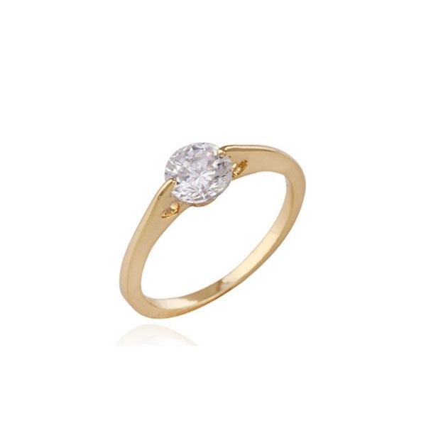 Plain Yellow Gold Color Top Quality Cubic Zirconia CZ Ring Fashion Party Jewelry Bijoux for Women Girls Hot Gift