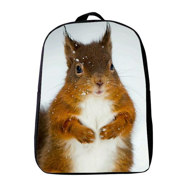 Wholesale- 12 Inches Oxford Printing Animal Squirrel Kindergarten Backpack Small Kids Baby School Bags Mini Boy Schoolbag Infantile Bookbag