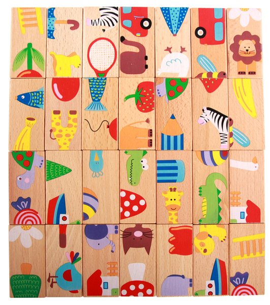 best selling Kid's Montessori Wooden Puzzle Toy Set 28pcs Animal Domino Early Educational Intelligence Development Toys Gift for Kid