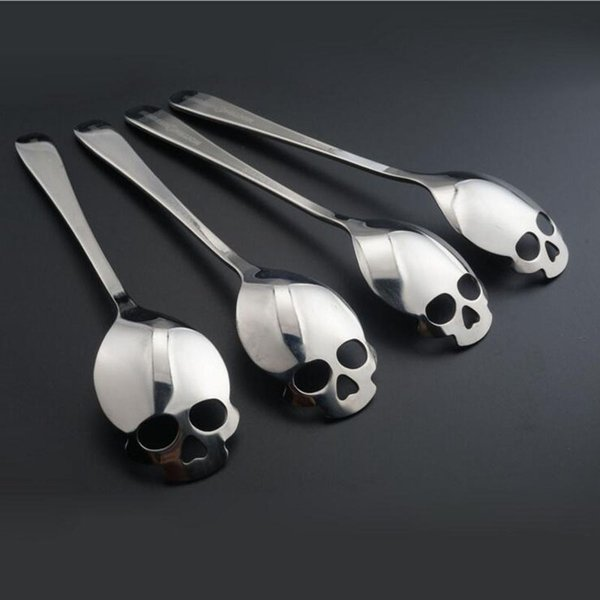 best selling Stainless Coffee Spoon Skull Shape Dessert Spoon Food Grade Stainless Ice Cream Candy Tea Spoon 15.1*3.4*0.25cm