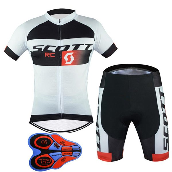 top popular Outdoor Bicycle 2017 New Scott Short Sleeves Cycling Jerseys 9D Gel Padded Bib shorts set Summer Style Mtb Maillot Ciclismo F2401 2019