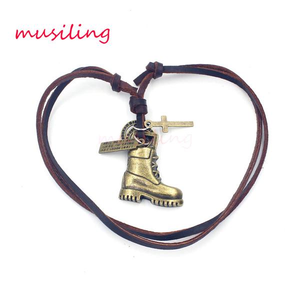 Anhänger Halskette Leder Halskette Anhänger Herren Schmuck Stiefel Zubehör Metall Pendel Amulett Hip Hop Anhänger Dekorationen Geschenke