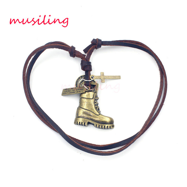 Pendant Necklace Leather Necklace Pendant Mens Jewelry Boots Accessories Metal Pendulum Amulet Hip Hop Pendant Decorations Gifts