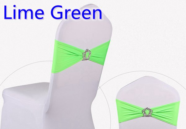 Lime green colour Crown buckle lycra sash for wedding chairs decoration spandex band stretch bow tie lycra ribbon belt on sale