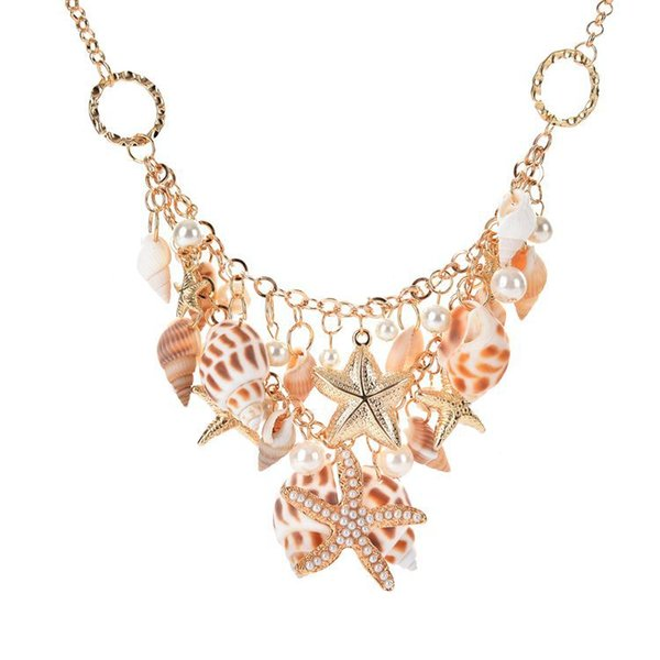 Classique Océan Style Starfish Shell Perle Collier Femmes Plage Conch Charme Colliers 18K Plaqué Or Pendentif Court Colliers 5 PCS