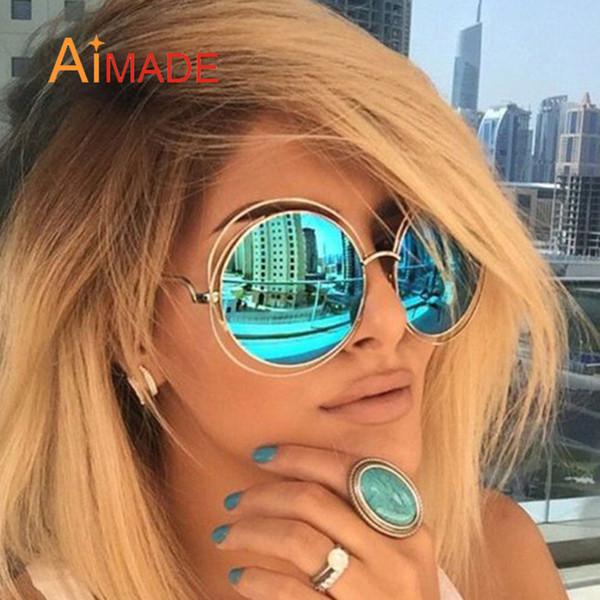 All'ingrosso-Aimade oversize Occhiali da sole rotondi di moda donna di grandi dimensioni grande specchio di vetro di Sun Lady epoca femminile del progettista di marca UV400