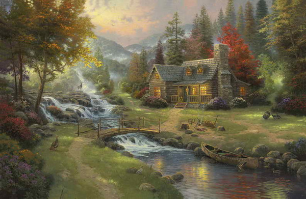 Mountain Paradise Thomas Kinkade Peintures à l'huile Art HD Imprimer sur toile Decor No Frame Décoration de la maison