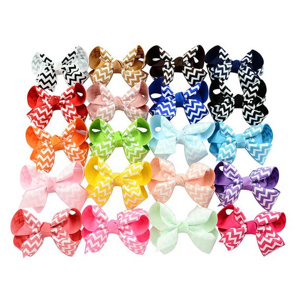 Forcelle arco del bambino ragazze nastro del grosgrain onda fiocchi con clip boutique archi forcine per le neonate bambini bambini accessori per capelli kfj98