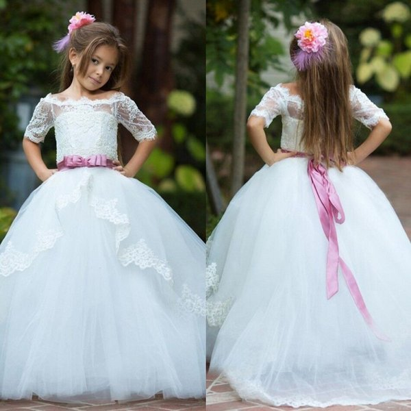 Pretty White Ivory Junior Bridesmaid Dress With Belt Long Tutu Gown Teens Formal Wear Little Girls Prom Pageant Dresses For Party Wedding
