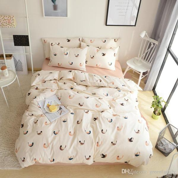 Elegant Floral Bedding Set 100% Cotton Bed Linen Sets 4pcs Bedspreads Kids Twin Size Blue Duvet Cover Bed Sheet Set