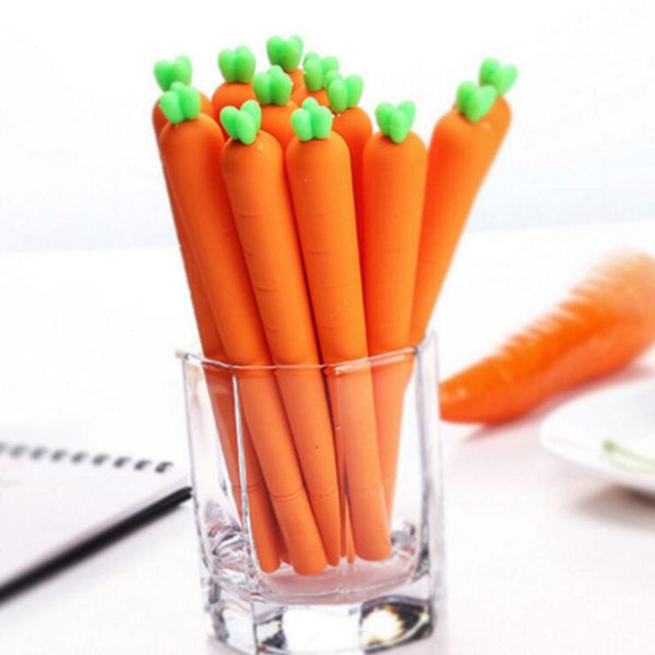 Creative Cute Black Refill Neutral Pen Papeterie Coréen personnalisé Signature Gel Stylos Stylo didactique étudiant à la carotte