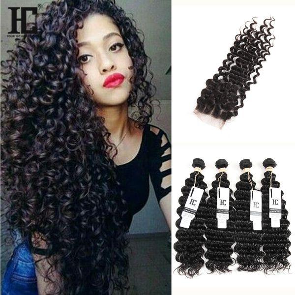 5Pcs Lot Malaysian Deep Wave Curly Virgin Hair With Closure Malaysian Lace Closure With 4 Bundles Malaysian Deep Wave Wavy Human Hair Weaves