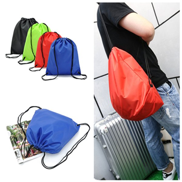 Wholesale- Simple Waterproof Nylon Drawstring Dust Shoes Bag Outdoor Sport Football Packback Travel Storage Pouchs