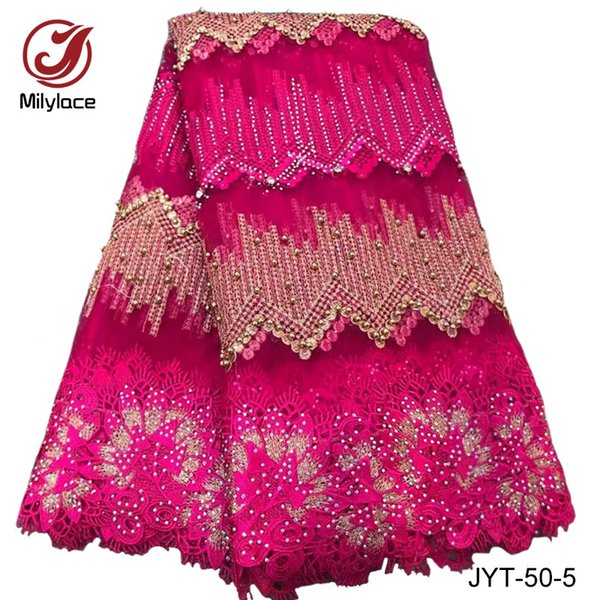 2017 latest 5 yards per lot embroidery African lace fabric with beads and stones guinea style french net lace fabric for women blouse JYT-50