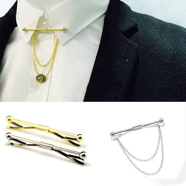 Gold silver Chain Ball Head Men's Business Tie Collar Pin Brooch Tie Stick Lapen Pin Shirt with Collar Bars Jewelry Wedding tie ciips