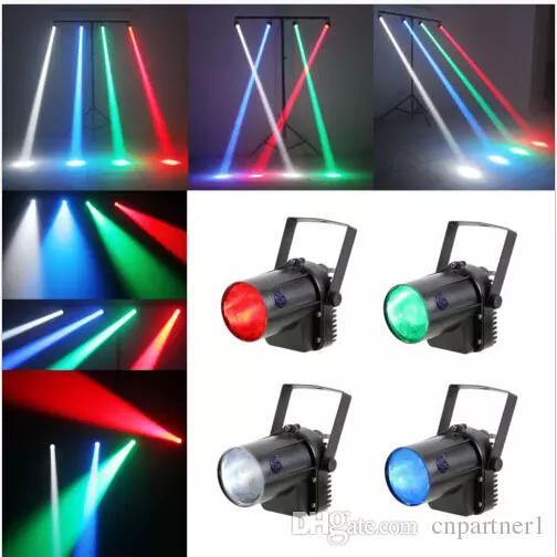 2017 RGB efecto de un solo color 5W LED Beam Spot Light blanco / rojo / verde Party DJ Bar Stage Light Pinspot Lights Efecto Proyector lámparas