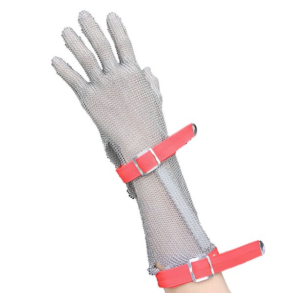 top popular 1pc 15CM Long Section Nylon Wristband Glove CutResistant Gloves Stainless Steel Mesh Metal Mesh Butcher Anti-cutting Glove Work Safety Glove 2019
