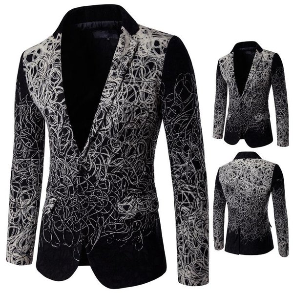 5XL Long Sleeve Men Blazers Personalize Flower Printing Style Slim Wild Casual Suits For Men Lapel Neck Single Breasted Men Blazer J161112