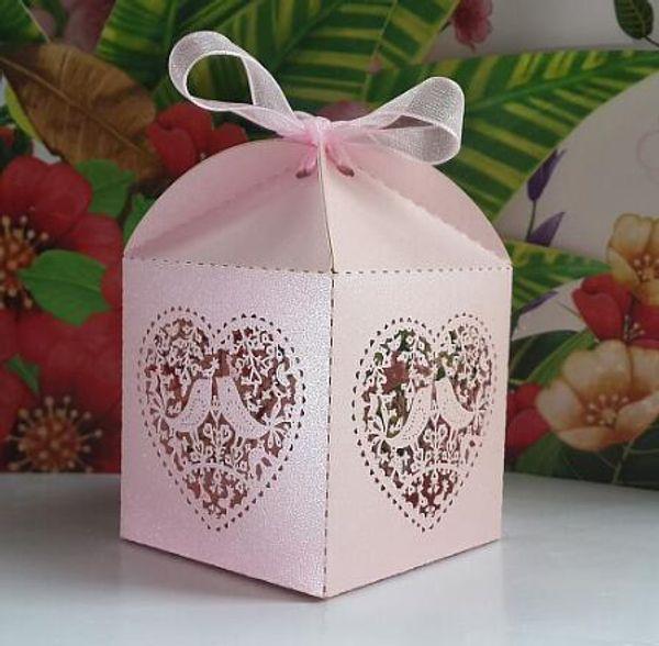 50pcs big size Laser Cut Birdcage Wedding Favor Box,in pearl pink ...