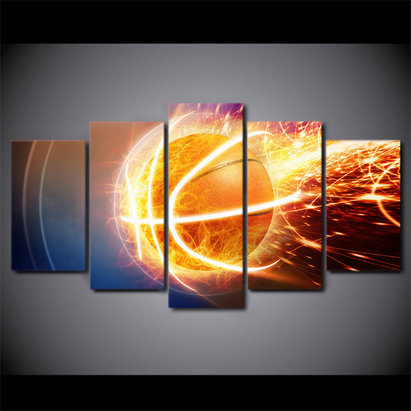 5 Piece Framed HD Printed Fire Basketball Still Life Canvas Artwork Modern Painting Poster Picture For Home Decor Wall Art