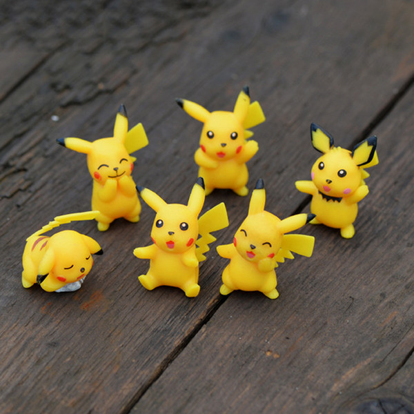 6pcs Cartoon Pikachu Figures Fairy Garden Miniatures Bonsai Tools Terrarium Figurines Dollhouse Toys Ornament Gnomes Zakka Home Accessories