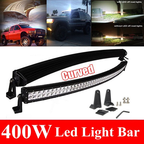 52 inch 400W Curved Spot Flood Combo Beam Led Light Bar Driving Work Light for 4WD ATV Off-Road Truck SUV Jeep Wagon Tractor Camping Car