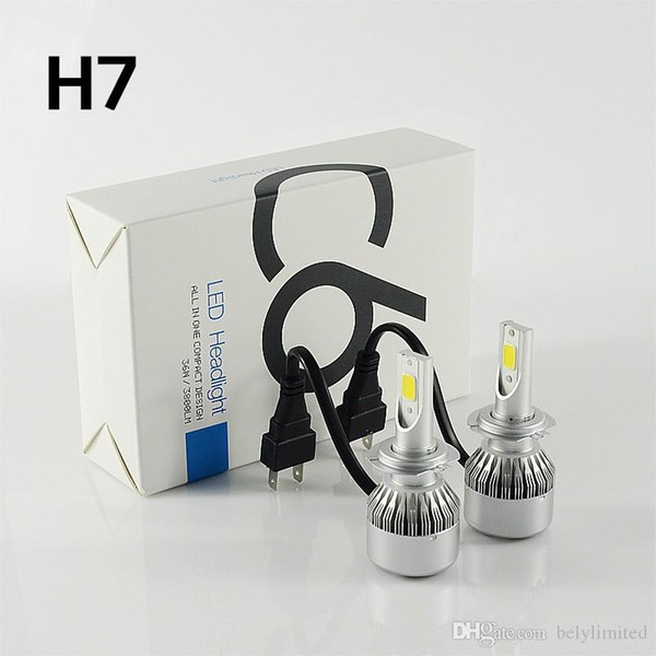 top popular C6 COB Chip 72W 7600LM LED Headlight H7 H4 Car LED Headlight Bulb Near Far Dipped Hi Lo Light LED H11 Lamp Lighting 2021