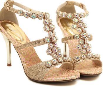 2017 женщины роскошные горный хрусталь Кристалл свадебные туфли сексуальная высокий каблук свадебные туфли