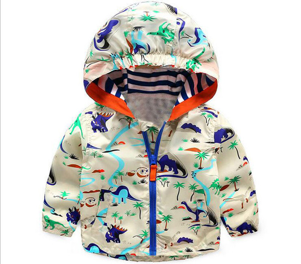 top popular 2017 New Spring   Autumn Children dinosaur Printed Tench Coats Hoodies polyester long sleeve O-neck kids Outwear Clothing for 3-7years old 2019