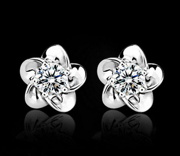 best selling Zircon immortalized sun flower earrings wild simple ZC diamond earrings wholesale free shipping