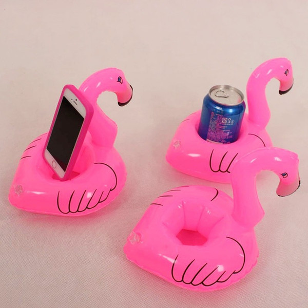 Mini Cute Pink Flamingo Floating Inflatable Drink Can Bottle Holder Swimming Pool Bath Party Beach Kid Toy for Christmas Party