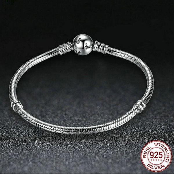 1pcs / lot Genuine 100% 925 Sterling Silver Chain CZ MICKEY Clip Bracelet Fit Charm Beads Luxury DIY Jewelry Gift