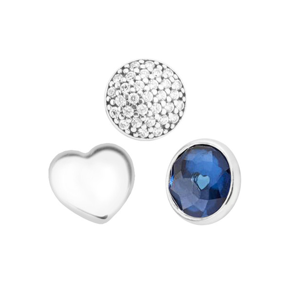September Petites Synthetic Sapphire & Clear CZ Charm for Locket necklace Charms Fits Pandora Bracelet sterling silver jewelry making charms