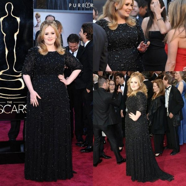 2018 Mother of Bride Groom Dress Famous British Singer Adele Black Formal Evening Dresses Beaded Long Celebrity Party Gowns ba1295