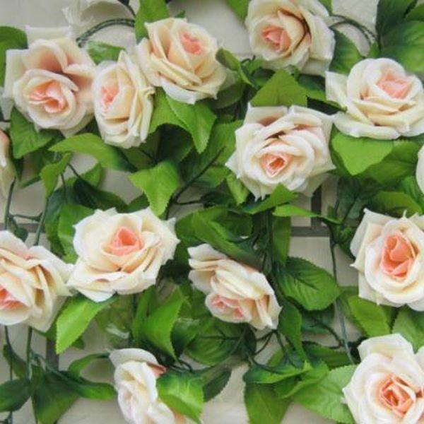 Al por mayor-Encantadora mascota Envío Gratis Artificial Rose Flower Green Leaf Vine Garland Home Wall Party Wedding presente Jun16