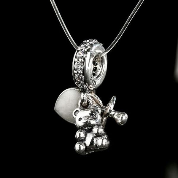 2017 Mother's Day Gift Baby Treasures Hanging Charms 925 Sterling Silver Enamel Heart/Pacifier/Teddy Bear Beads Jewelry