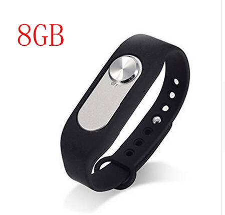 best selling WR-06 8GB Portable Detachable Wrist Band Audio Voice Recorder Wristband Bracelet Band with USB Cable Black