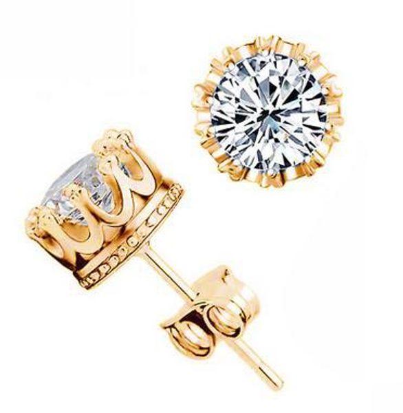 925 Sterling Silver CZ Diamond Crown stud earrings Fashion Jewelry beautiful wedding engagement gift Gold Silver Crown Earrings