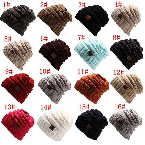1pcs Unisex CC Trendy Hats Winter Knitted Beanie Label Winter Knitted Wool Cap Unisex Folds Casual CC Beanies Hat Solid Hat F21