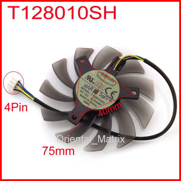 Wholesale- Free Shipping EVERFLOW T128010SH 12V 0.25A 75mm 40x40x40mm For ASUS GTX560 HD5870 Graphics Card Cooling Fan 4Wire 4Pin