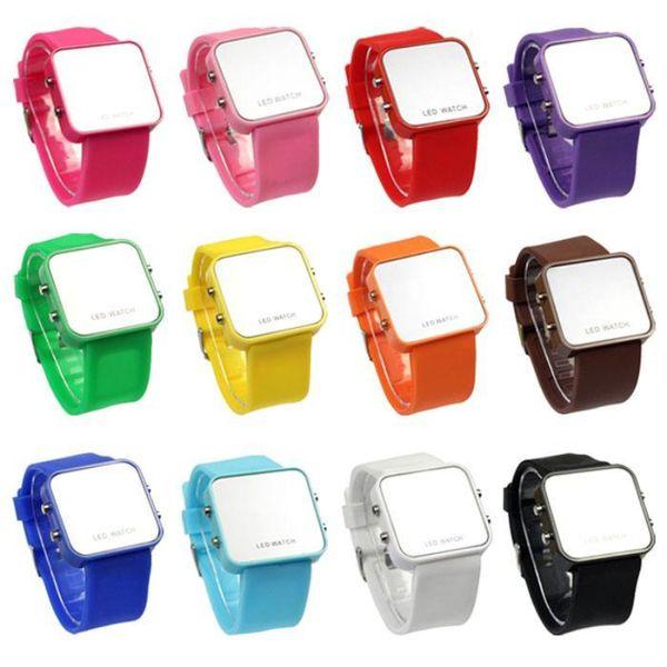 Heißer Verkaufs-Frauen-Damen-Spiegel-Verfassungs-Uhrplastikgummigelonesilon digitaler Datumskalender Unisexart und weisesport passt 100pcs / lot auf